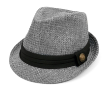 Trilby Fedora with Black Band & Button | Grey