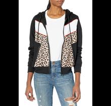 Southpole Women's Long Sleeve Hooded Tech Fleece Full Zip | Black/Leopard/Red