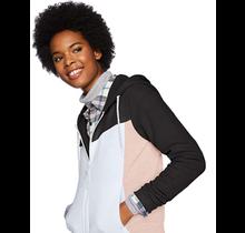 Southpole Women's Long Sleeve Hooded Tech Fleece Full Zip 18323-1559 | Black/Pink/White