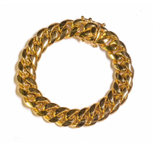 Golden Gilt 14mm Cuban Link Bracelet 18K Plated  8""
