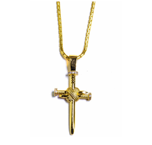 Golden Gilt Nail Cross Pendant 18K Gold Plated 22""