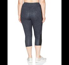 Just My Size  Womens Plus Size Active Pieced Stretch Capri OJ364 | Spot on Slate Grey/Black