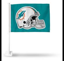 Miami Dolphins Helmet Car Flag Teal Background