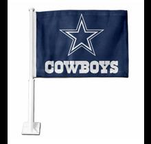 Dallas Cowboys Navy With Primary Logo And Wordmark Car Flag