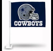 Dallas Cowboys Car Flag Blue Bkg Helmet