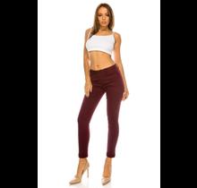 ENJEAN Women's Basic Solid Skinny Push Up Pants EP800 | Burgundy