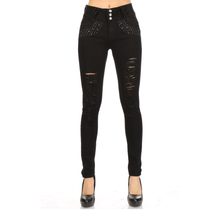 Rico Jean Distressed High Waist 3 Button Jean w/ Rhinestone | Black