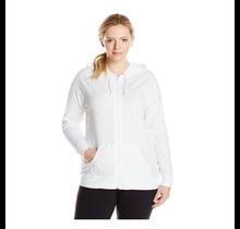 Just My Size Women's Full Zip Jersey Hoodie  OJ168 | White