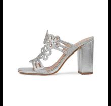 Amali Women's Metallic Fashion Heel with Floral Designs and Rhinestones Sandal : Style Ursa