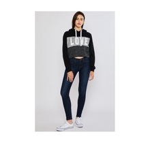 Reflex Cropped Colorblock Fleece Pullover Hoodie with Love Print