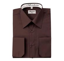 Berlioni Italy Men's Convertible Cuff Solid Dress Shirt | Brown