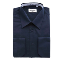 Berlioni Italy Men's Convertible Cuff Solid Dress Shirt | Navy