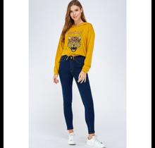 Women's Vintage Rock N Roll Leopard Cropped Hoodie