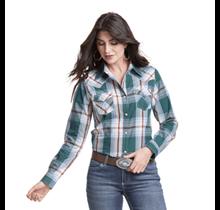 Wrangler Women's Plaid Western Snap  Shirt LW8045M