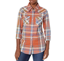 Wrangler Women's Plaid Western Snap Shirt LWE725M