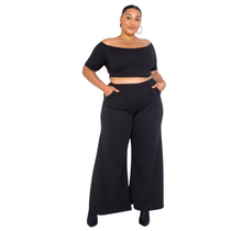 Plus Size Crop Top & Wide Pants Set