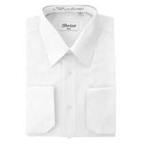 Berlioni Italy Men's Convertible Cuff Solid Dress Shirt | White