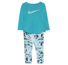 Nike Girls Tunic and Mylar Legging Set, Teal Nebula|26F724-C6J