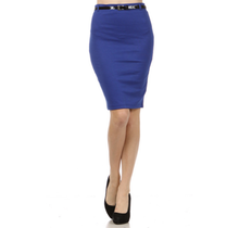 Solid Belted Pencil Skirt IS0434