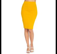 IRIS Knit Knee-length Skirt IS1260 | Mustard
