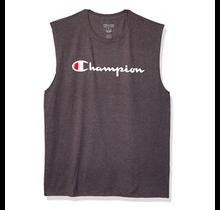 Champion Men's Classic Jersey Muscle Tee, Script Logo GT22H Y07718 - Granite Heather