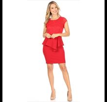Lace Techno Crepe Short Dress N1108