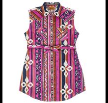 Wrangler Girl's Sleeveless Aztec Print Western Snap Shirt Dress GWD659