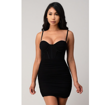 Lingerie Strap Ruched Mesh Corset Dress SD00354