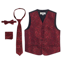 Gioberti Boy's 4 Piece Formal Paisley Tuxedo Vest Set