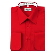 Berlioni Italy Men's Convertible Cuff Solid Dress Shirt | Red
