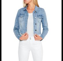 Bebe Women's Cropped Raw Hem Denim Jacket