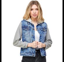 Blue Age Women's Comfort Denim Jacket with Hoodie JK-4039