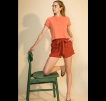 Double Zero Belted Linen Blend High Waist Paperbag Shorts