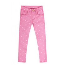 Pink Latte Girl's Twill Stretch Pants w/ Hearts GDP-18-8437B