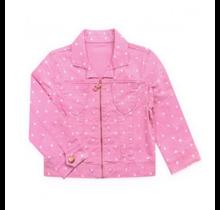 Pink Latte Girl's Twill Stretch Jacket w/ hearts GDJ-18-9681B
