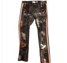 FWRD Denim Men's Slim Fit Jeans Paint & Side Taping 33536A