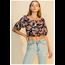Favlux Favlux Women's Floral Crop Blouse with Ruffle Trim FL20F736