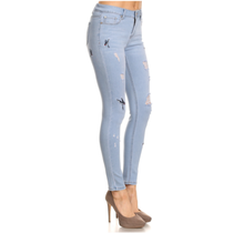 ENJEAN Women's Distressed Embroidered Skinny Jeans EP780