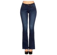 ENJEAN Women's High Rise Solid Bootcut Jeans EP3186