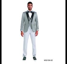 Tazio Men's 3pc Plaid Slim Fit Suit M321SK-02
