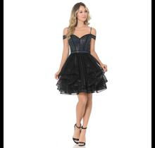 Lenovia Women's  Off-Shoulder Stone Embellished Short Formal Dress 8140