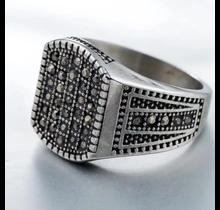 Silver Square Studs Diamond Ring