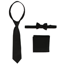 Gioberti Boys Solid Zippered Tie, Bow tie, and Handkerchief Set