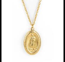 Madonna Goddess Oval Pendant Necklace