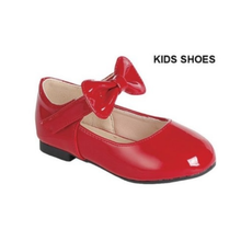 LINK Girls' Mary Jane Flat w Bow | Red Patent