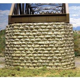 Chooch Enterprises 8432 Cut Stone Double Track Bridge Pier, Painted HO