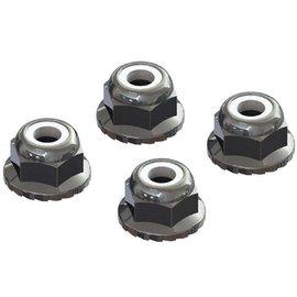 Arrma AR708008 Flanged Nyloc Locknut 4mm Silver (4)