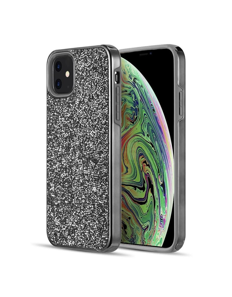 Luxmo Apple iPhone 11 - Luxmo Diamond Platinum Collection Hybrid Case w/ Electroplated Frame - Black