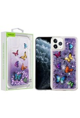 Airium Apple iPhone 11 PRO- Airium Hearts & Purple Quicksand Glitter Hybrid