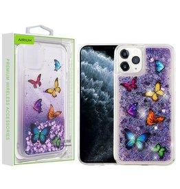 Airium Apple iPhone 11 PRO- Airium Hearts & Purple Quicksand Glitter Hybrid